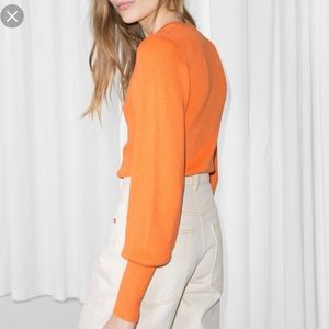 & Other Stories crewneck orange ribbed sweater